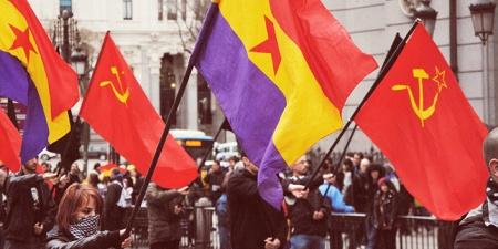 Manifestantes del Frente Obrero, organización comunista dirigida por Roberto Vaquero
