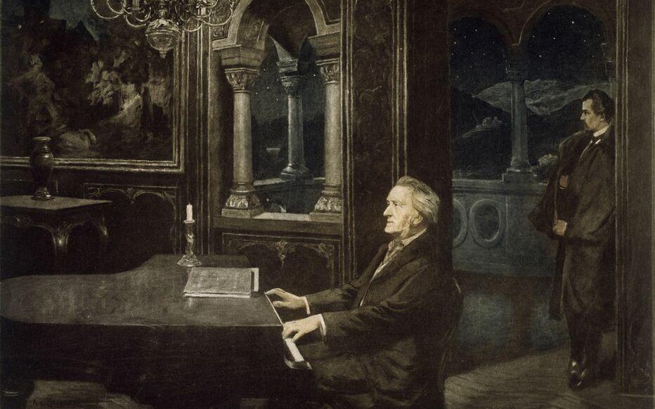En esta pintura de Kurt von Rozynski (s. XIX), Richard Wagner toca para su mecenas, Luis II de Baviera